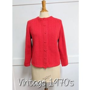 Vintage 1970's Red Cardigan Sweater size Medium